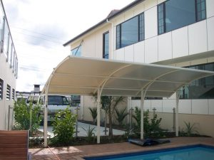 Cantilever arched canopy design by Fresco Shades