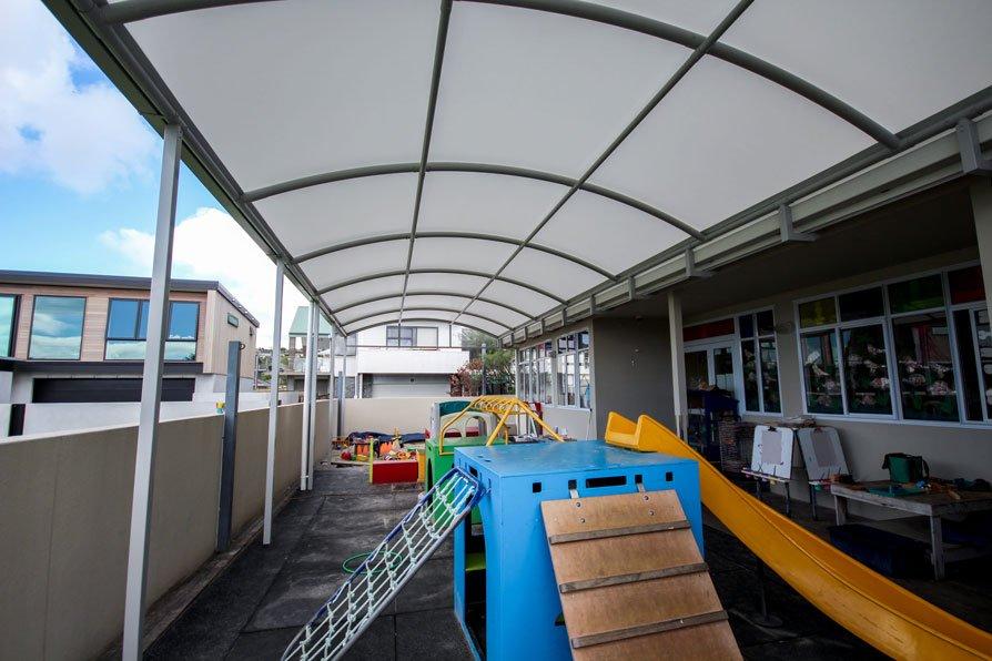 Red Beach kindergarten playground canopy by Fresco